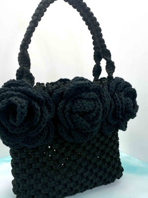 Aleksandra McCormack Handmade hand crafted black cotton macrame tote bag box boxy handbag purse with black cotton crochet roses around top with handles close up view