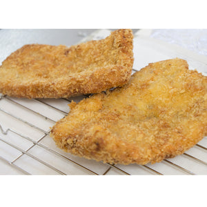Tonkatsu Pork Cutlet 36pc avg. 12lbs (5.54kg) (SKU: 70446) is easy to cook. Just deep fry in the cooking oil (canola or corn oil recommended).