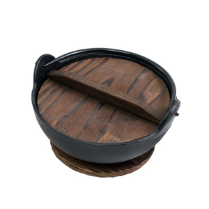 "Yamaga Cast Iron Pot with Wooden Base - Large (SKU: 93675) - 8.3"" (21cm) dia. x 3.5"" (9cm) H."