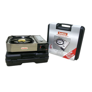 Iwatani Portable Butane Stove 35FW (15,000 BTU/h) (SKU: 96837) comes with carrying case.