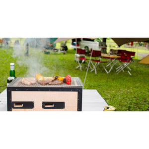 "Charcoal Konro Grill Medium 21.25"" x 9"" x 7.9"" (SKU: 98493) can be used as BBQ Grill outside."