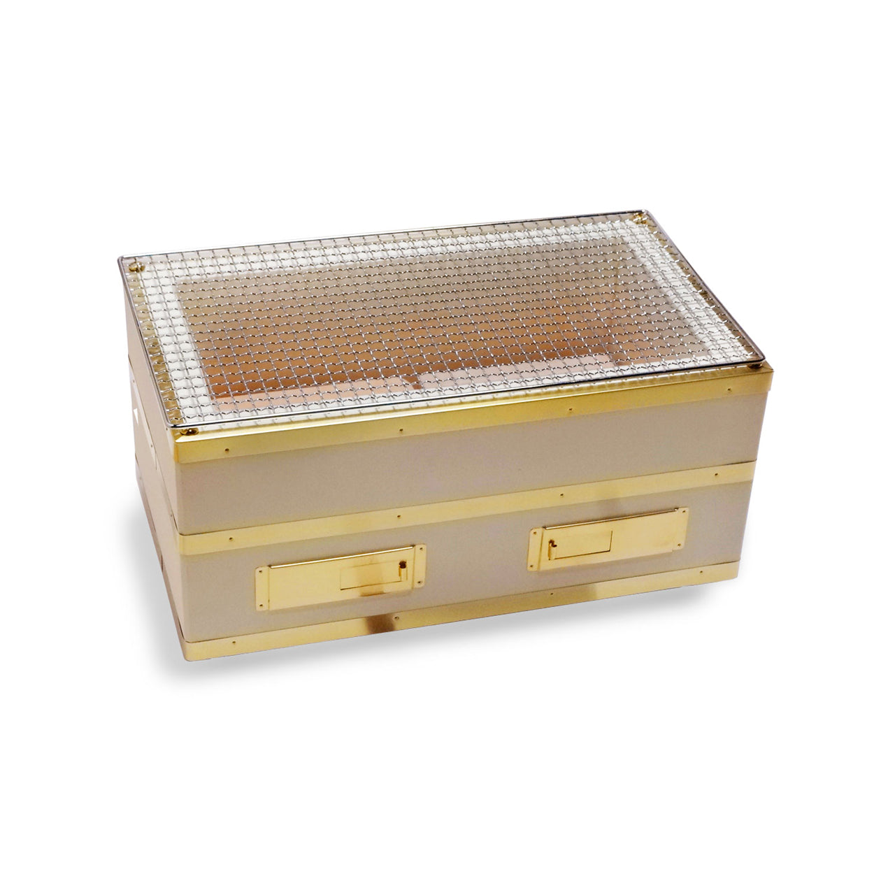 "Charcoal Konro Grill with Brass & Net Medium 18"" x 10"" (SKU: 98781)"