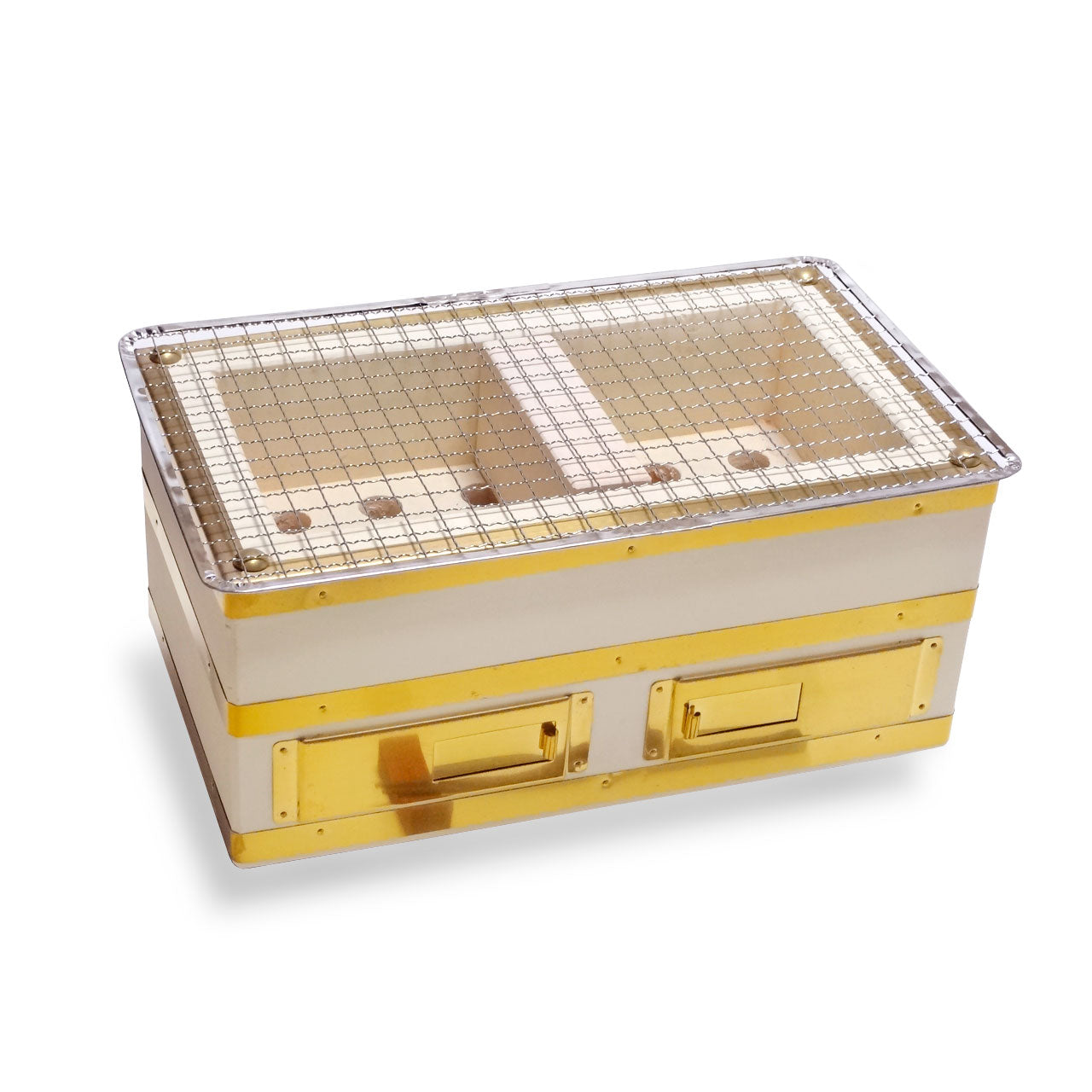 "Charcoal Konro Grill with Brass & Net Small 12"" x 7"" (SKU: 98792)"