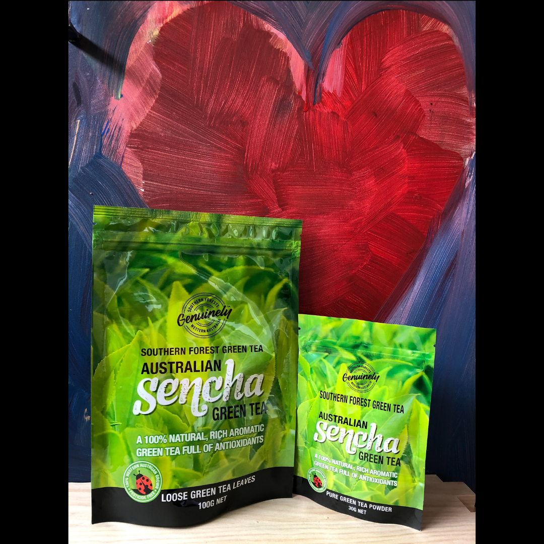 Valentines Duo, Loose Leaf Sencha Green Tea and Pure Green Tea Powder
