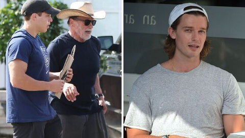 Patrick Schwarzenegger and Joseph, the illegitimate son of Arnold Schwarzenegger, photographed together playing sports