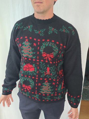 Christmas Squares Black Sweater