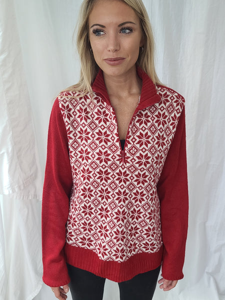 Red Snowflake Quarter-zip Pullover Winter Sweater