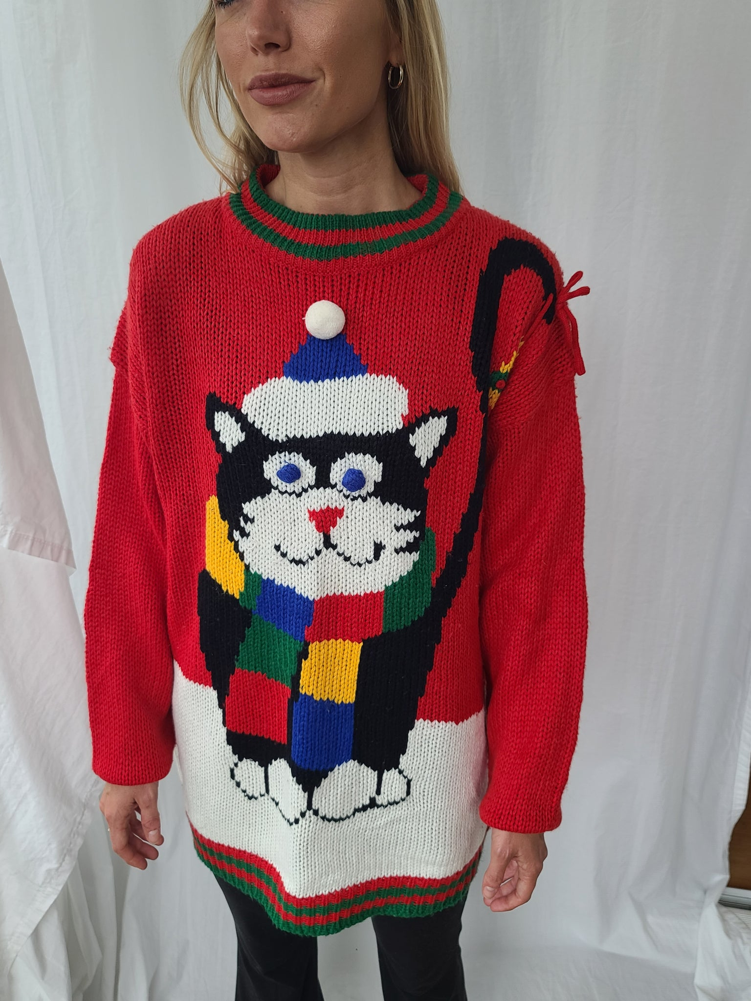 Rare Vintage 1992 Cat Christmas Sweater