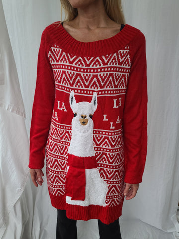 Llama Long Length Pullover Christmas Sweater