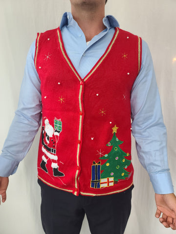 Santa and Christmas Tree Sweater Vest