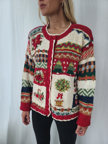 Rare Vintage 1998 Quilt-Like Cardigan Christmas Sweater