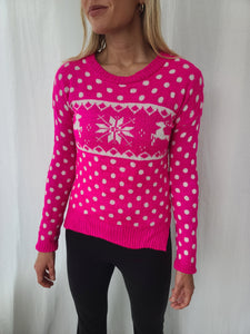Hot Pink Reindeer Polka-dot Winter Sweater