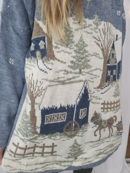 Country Village with Horse and Sleigh Winter Sweater