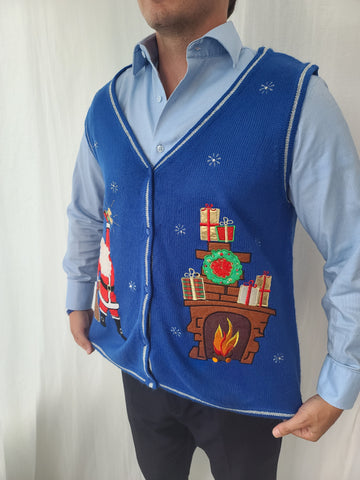 Santa and Fireplace Christmas Vest