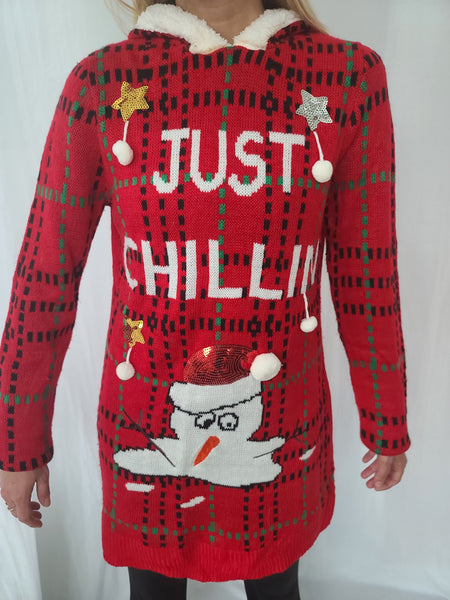 Just Chillin Melted Snowman with Hood Long Sweater