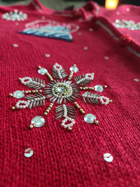 Embellished Snowflakes and Snowglobes Christmas Sweater