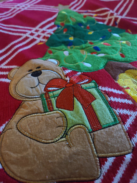 Christmas Tree with Bear and Presents Red Sweater