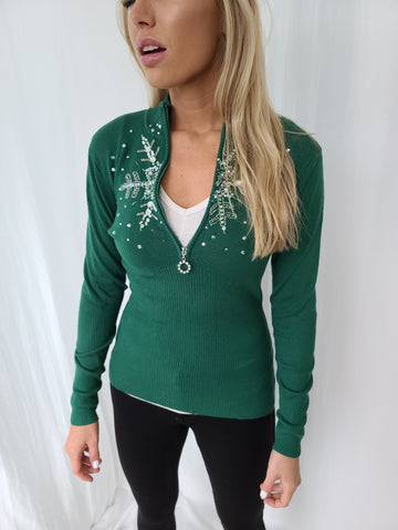 Bling bling Snowflake Quarterzip Sweater