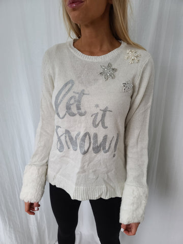Let it Snow Pullover Sweater with Furry Cuffs