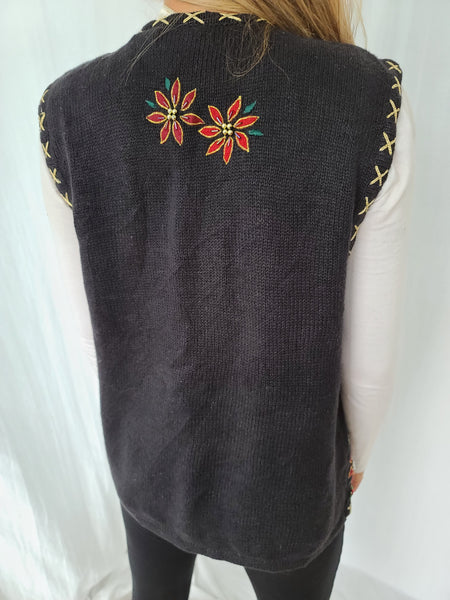 Poinsettia Strings Black Christmas Vest