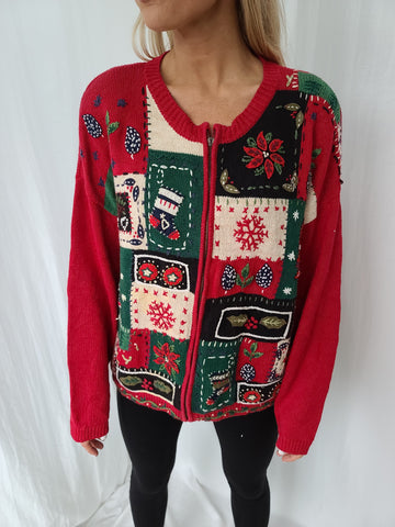 Quilt-Like Vintage 2000 Patchwork Zip up Christmas Sweater