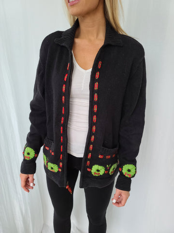 Wreath and Ribbon Zip up Christmas Sweater with Pockets