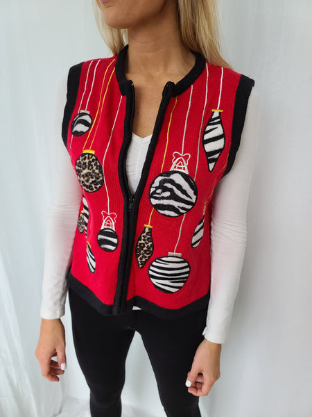 Zebra and Leppard Print Ornaments Christmas Vest