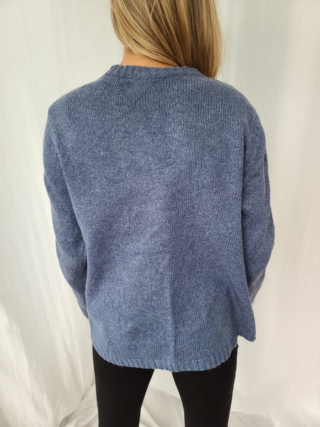 Snowman and Snow Winter Blue Zip up Sweater