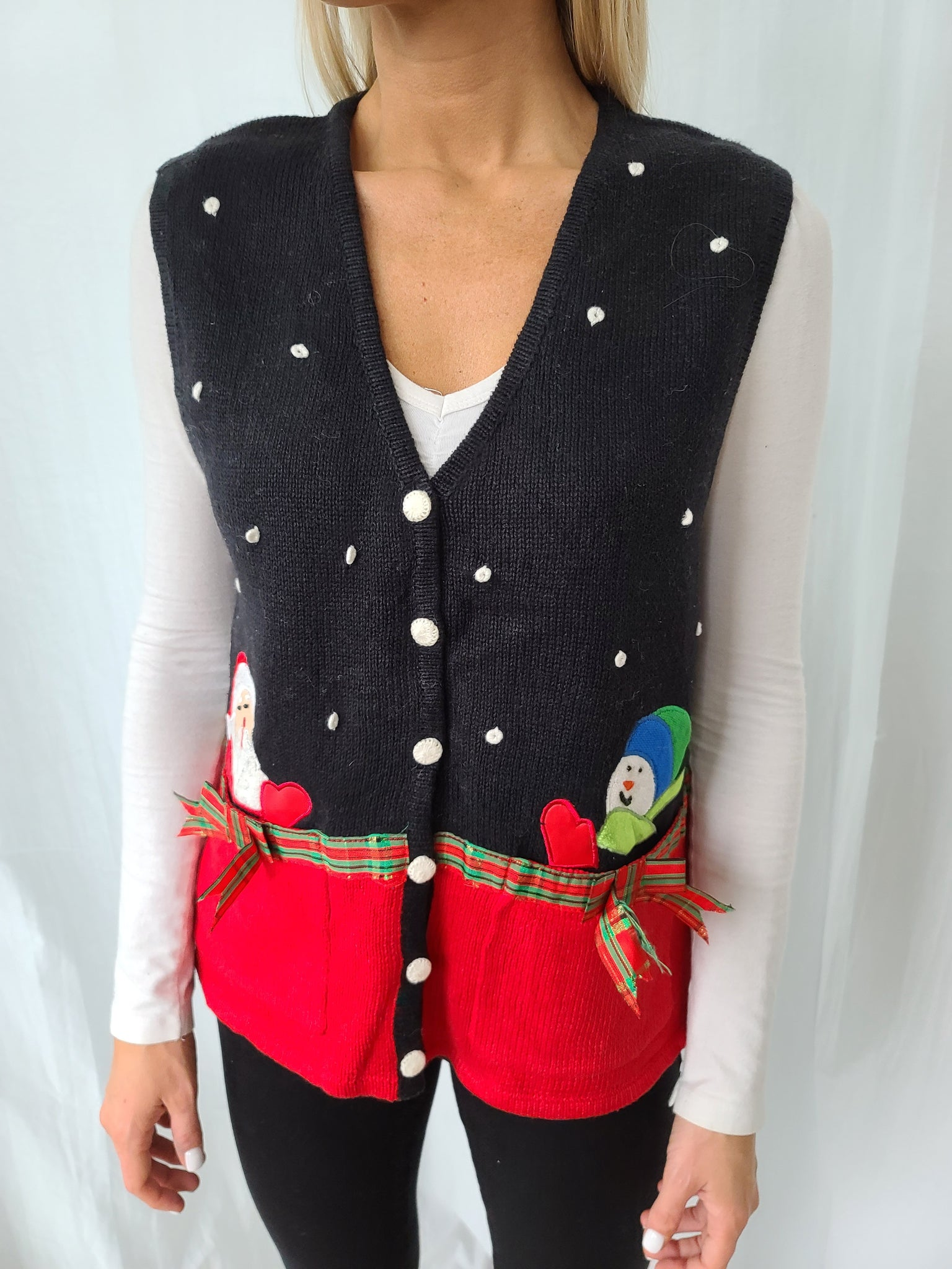 Santa and Snowman black and red vest with Pockets