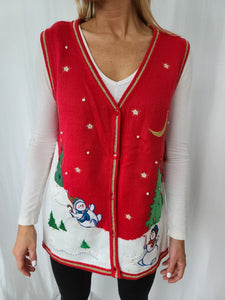 Snowmen Frolicking in the Snow Christmas Vest