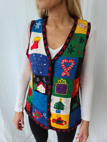 Multicolored Vintage Christmas Squares Vest