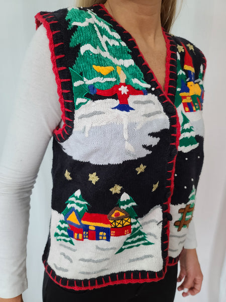 Village Winter Scene Christmas Vest