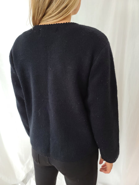 Black Vintage Tally-ho Tree Sweater with