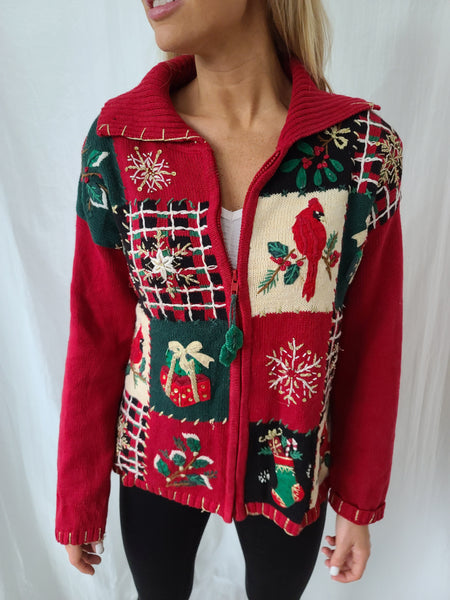 Vintage 2004 Quilt-like pattern Zip up Christmas Sweater