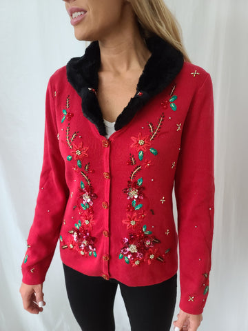 Highly Embroidered Poinsettia with Furry Collar Christmas Sweater