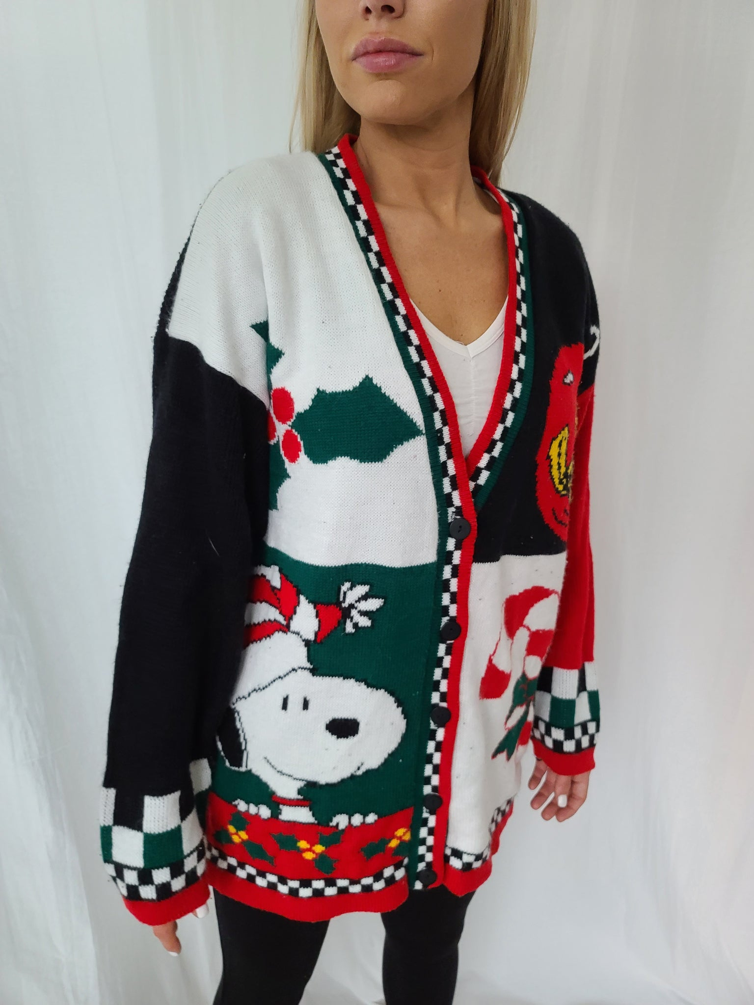 Rare Vintage Snoopy Button up Deep V Christmas Sweater