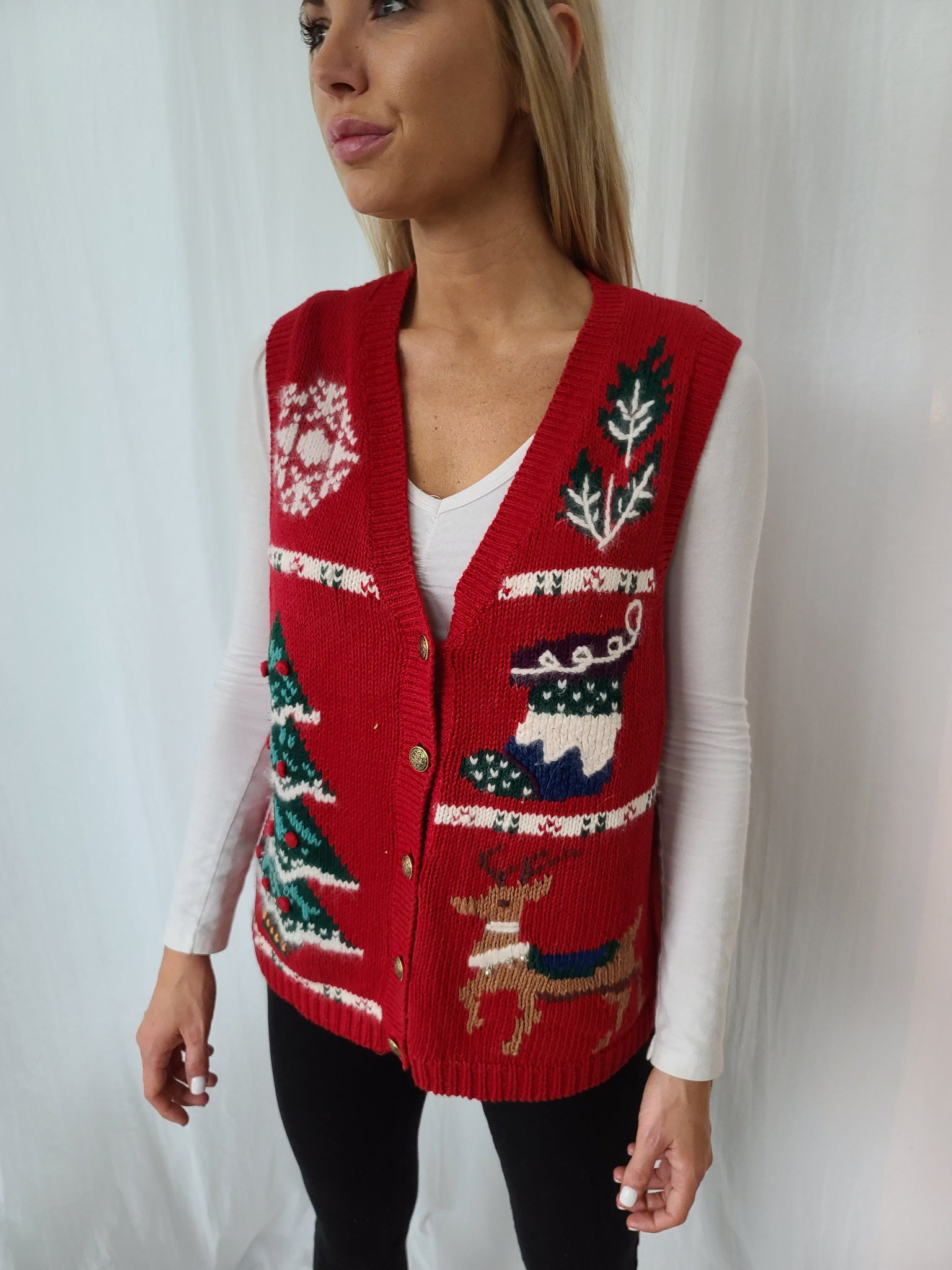 Vintage button up red Christmas Vest