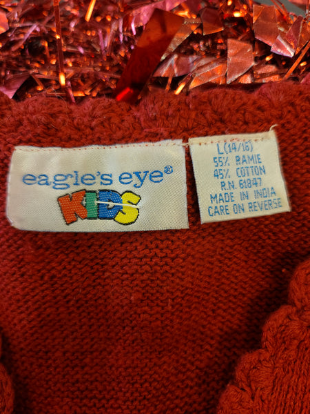 Red Christmas Tree Eagle's Eye Button Vest