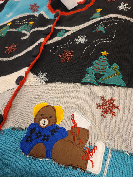 Bears frolicking on the Hillside Button Sweater