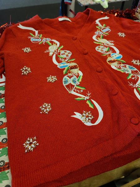 Ornaments and Snowflakes Red Button up V-neck Christmas Sweater