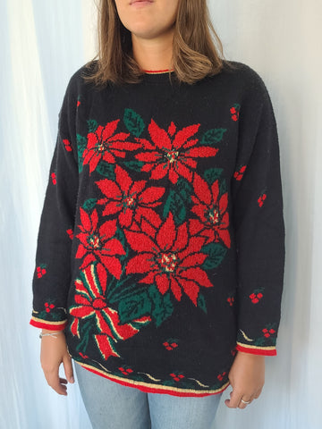 Poinsettia Long Black Christmas Sweater