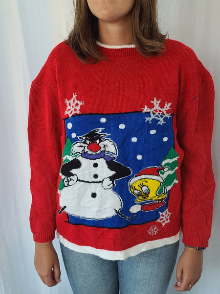 Rare 1997 Looney Tunes Sylvester and Tweety Winter Sweater