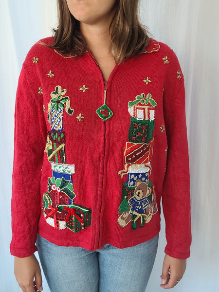 2003 Vintage Stacks of Christmas Presents Christmas Sweater