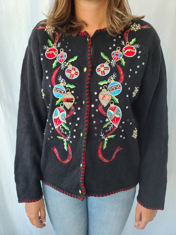 Ornaments and Ribbon button up Christmas Sweater