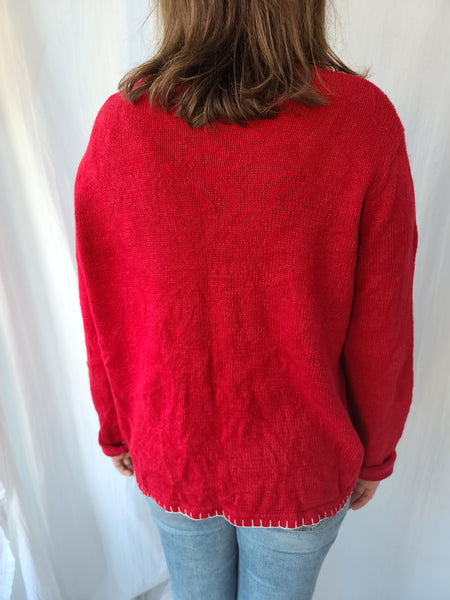 Snowflakes on Red Button up Sweater