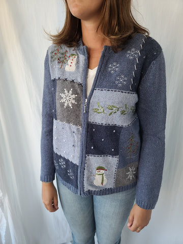 Blue Winter Snowman Sweater