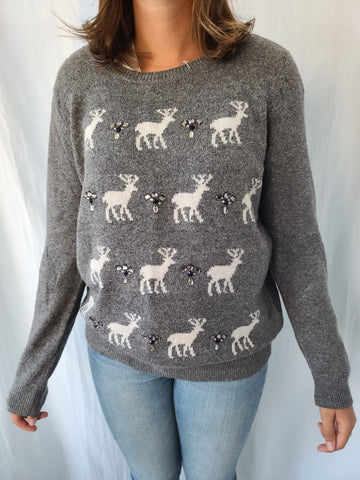 Gemstones and Deer Grey Pullover Sweater