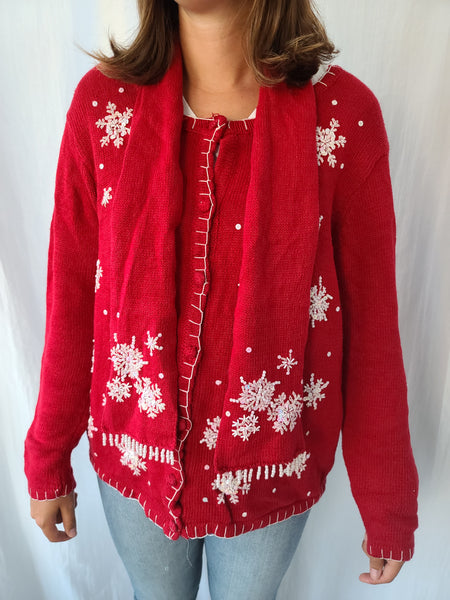 Embroidered Snowflakes Button up Sweater with Scarf