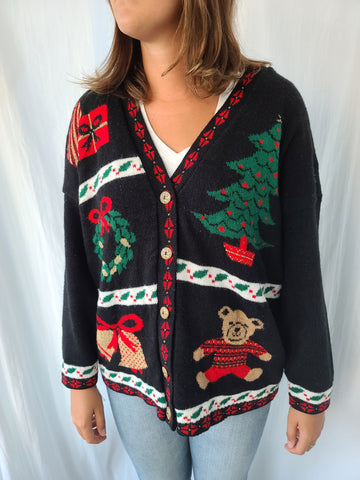 Deep V-Neck Vintage Black Christmas Sweater