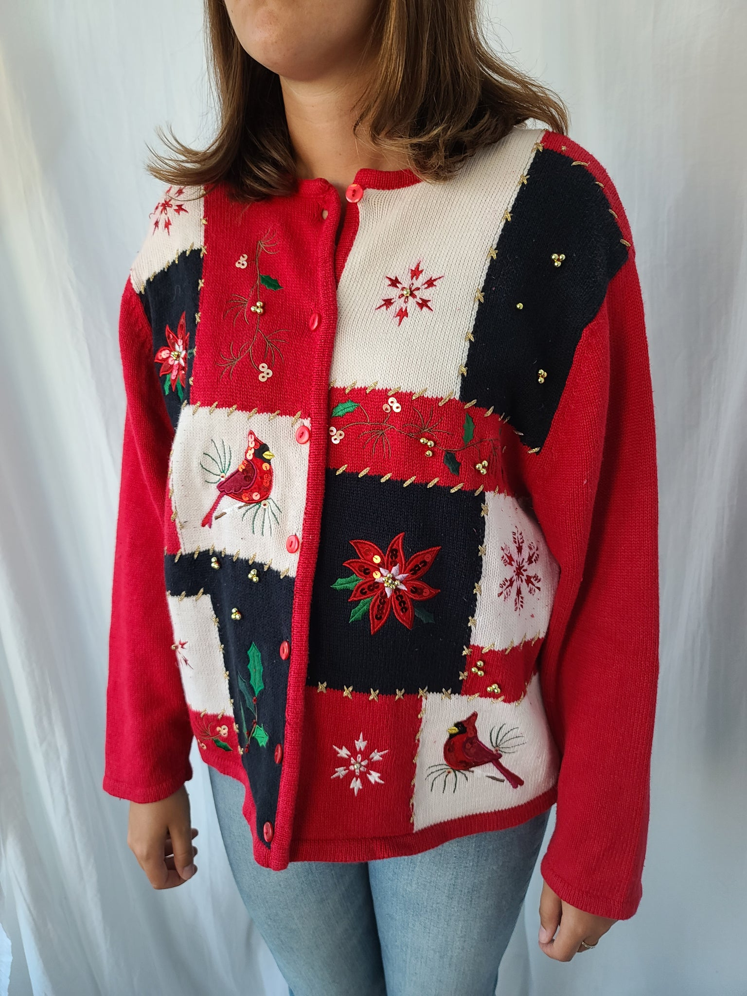 Cardinals and Poinsettia Checkered Button Christmas Sweater